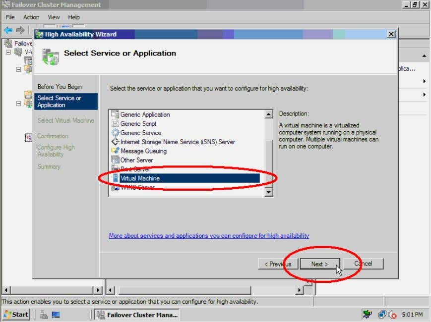 and Application page, highlight Virtual Machine and click the Next> button. Figure 55. Select Virtual Machine