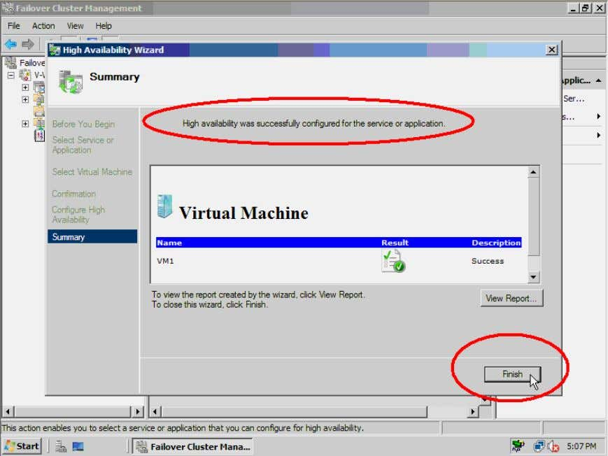 VM to th e cluster was successful or failed. Click the Finish button to complete. Figure