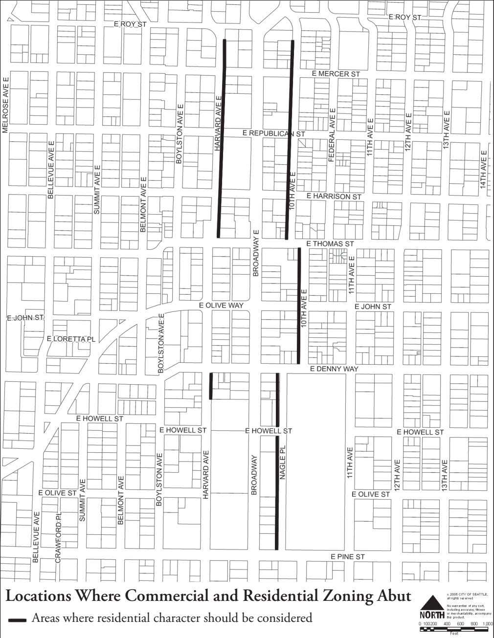 Locations Where Commercial and Residential Zoning Abut Areas where residential character should be considered