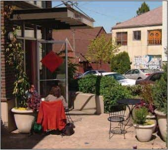 Outdoor gathering space along the sidewalk is allowed by setting back the corner of the