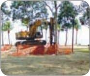 and excavator bucket coming into contact with live cables. Figure 17: Barricade work area with warning