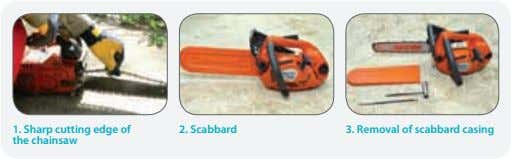 1. Sharp cutting edge of the chainsaw 2. Scabbard 3. Removal of scabbard casing