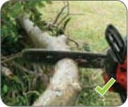 with one hand. Figure 21: Chainsaw with concealed muffler. Figure 22: To avoid kickback, use the