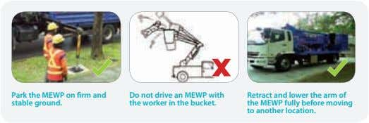 Park the MEWP on firm and stable ground. Do not drive an MEWP with the