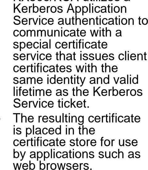 ticket. The resulting certificate is placed in the certificate store for use by applications such as