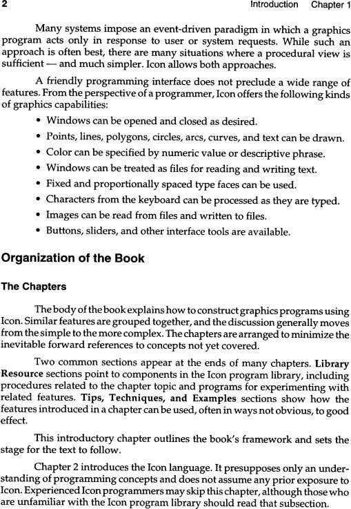 2 Introduction Chapter 1 Many systems impose an event-driven paradigm in which a graphics program