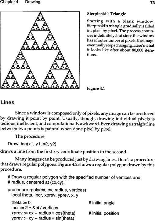 Chapter 4 Drawing 73 Sierpinski's Triangle Starting with a blank window, Sierpinski/s triangle gradually is