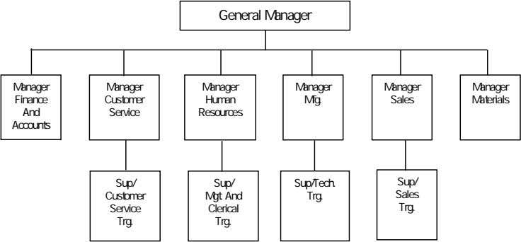 General Manager Manager Manager Manager Manager Manager Manager Finance Customer Human Mfg. Sales Materials