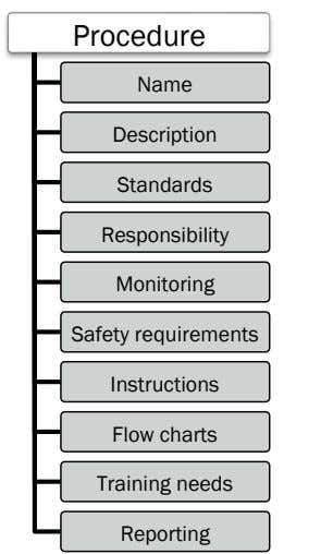 Procedure Name Description Standards Responsibility Monitoring Safety requirements Instructions Flow charts