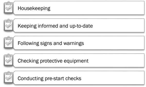 Housekeeping Keeping informed and up-to-date Following signs and warnings Checking protective equipment Conducting