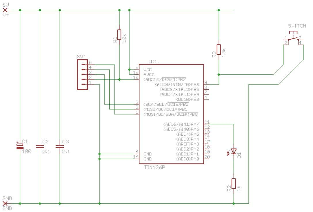 Simple AVR circuit Design the above circuit onto the breadboard diagram below 11