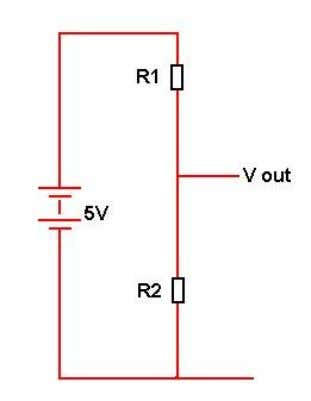 is typically two resistors across a battery or power supply. A voltage divider is shown here.