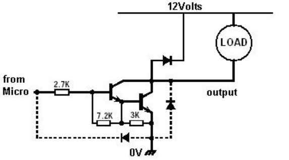 to drive multiple relays, solenoids, or high power lamps. This IC has 8 sets of Darlington-pair