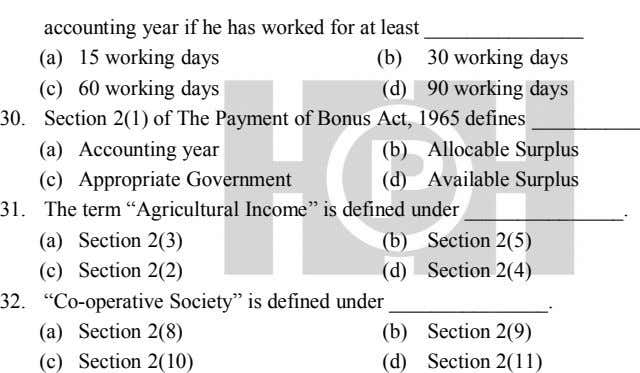 accounting year if he has worked for at least (a) 15 working days (b) (c)