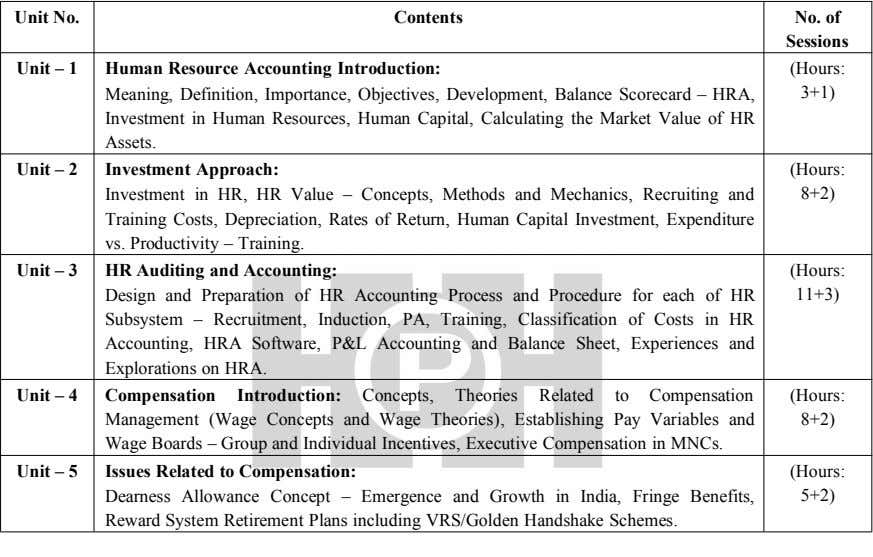 Unit No. Contents No. of Sessions Unit – 1 Human Resource Accounting Introduction: (Hours: Meaning,