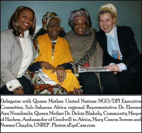 Delegates with Queen Mother: United Nations NGO/DPI Executive Committee, Sub-Saharan Africa regional Representative Dr.