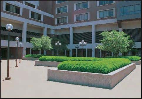 entrances, utility courts, and employee-only access points. This entry plaza coordinates vegetation and site furnishings