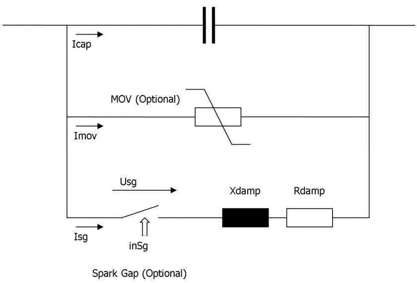 optional parallel MOV surge arrester is shown in Figure 5.3. Figure 5.3: Spark gap model External