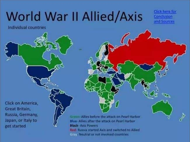 France America Australia Brazil Canada Russia South Africa New Zealand Newfoundland Axis Powers Germany Japan Italy