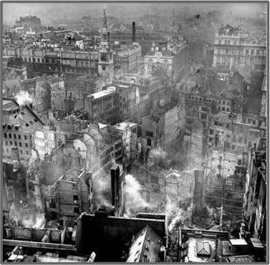 The destruction on London caused by The Luftwaffe (Nazi air force) during the Battle of