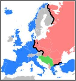 of eastern Europe. The Iron Curtain marked the border between these two regions. The black line