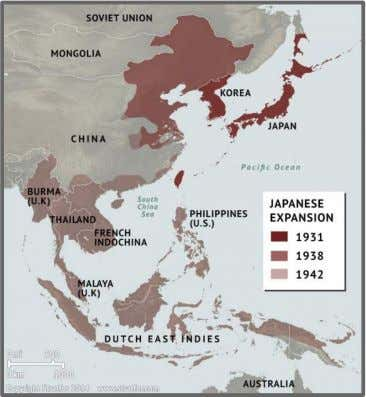 to gain new resources. They invaded Manchuria in 1931 and China in 1938. A map showing