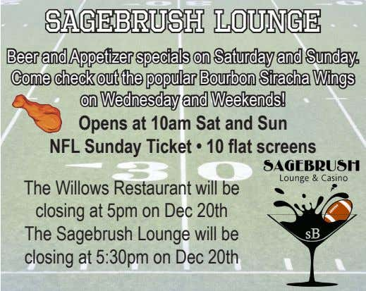 Sagebrush Lounge Beer and Appetizer specials on Saturday and Sunday. Come check out the popular Bourbon