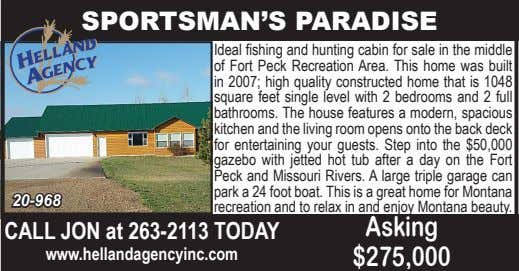 SPORTSMAN'S PARADISE 20-968 Ideal fishing and hunting cabin for sale in the middle of Fort Peck