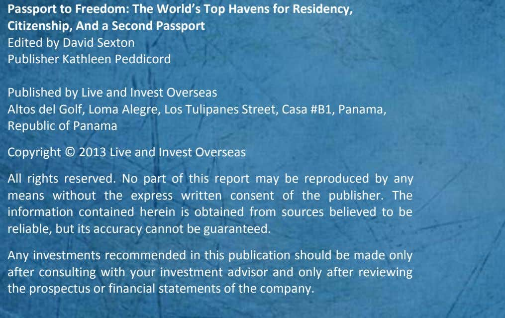 Passport to Freedom: The World's Top Havens for Residency, Citizenship, And a Second Passport Edited
