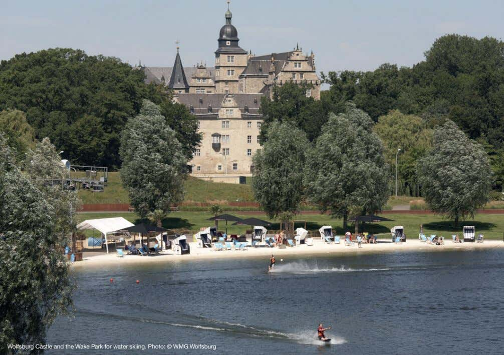 Wolfsburg Castle and the Wake Park for water skiing. Photo: © WMG Wolfsburg