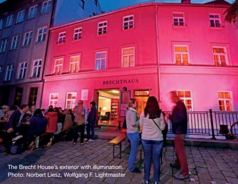 The Brecht House's exterior with illumination. Photo: Norbert Liesz, Wolfgang F. Lightmaster