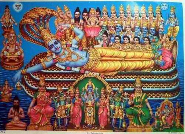 (or human) years, or ten times the duration of Kaliyuga. Brahma is seated atop the lotus
