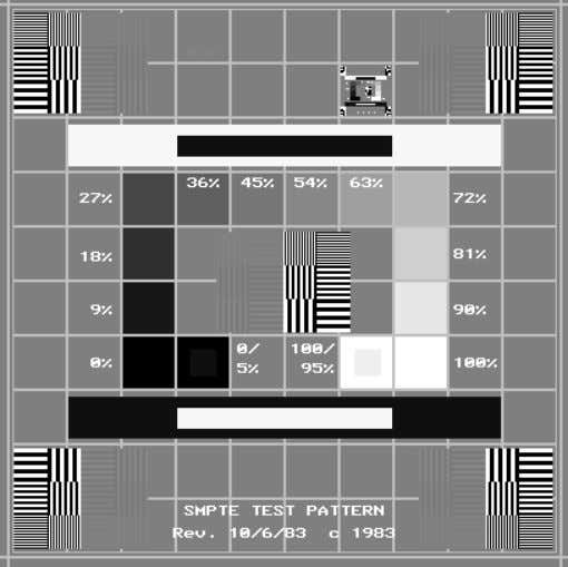 SMPTE TV test pattern to evaluate display monitor performance Golden Nugget Hotel, Las Vegas, NV February