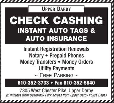 UPPER DARBY CHECK CASHING INSTANT AUTO TAGS & AUTO INSURANCE Instant Registration Renewals Notary •