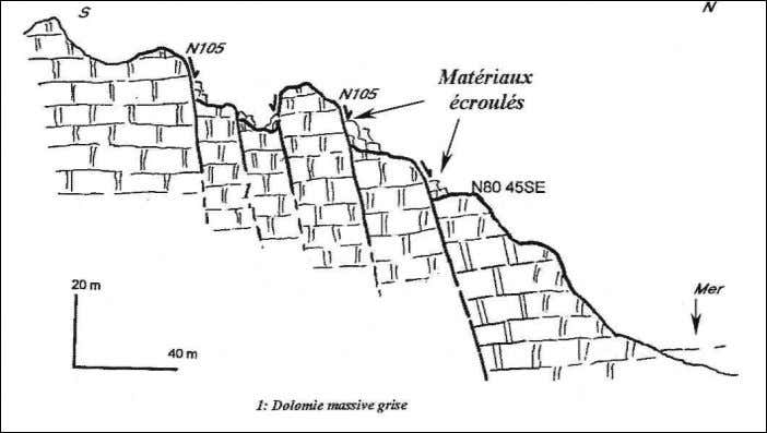 by recurrence of normal faults located in the upper-cliff. Fig. 8 – Coupe géologique au niveau