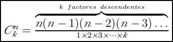 k factores descendentes n ( n − 1)( n − 2)( n − 3) n