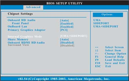 BIOS SETUP UTILITY Advanced Chipset Settings Options Onboard HD Audio Front Panel OnBoard Lan [Auto]
