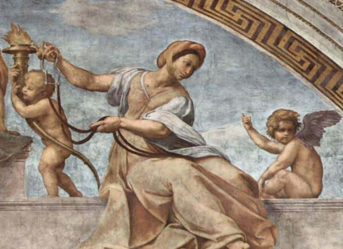 Fig. 12. Raffaello Sanzio, Allegory of Temperance (detail from Cardinal and Theological Virtues), fresco, 1511,