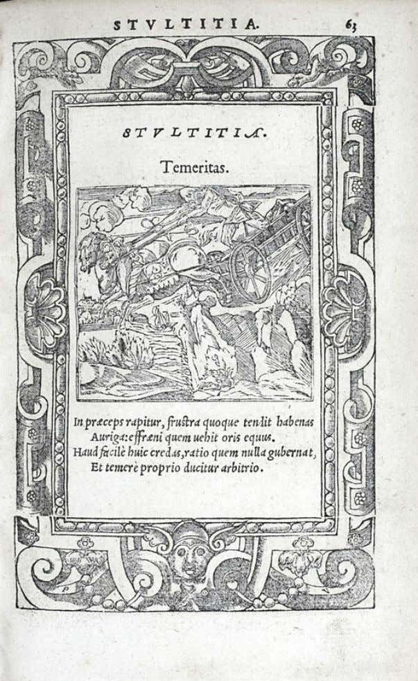 "Fig. 5. Andrea Alciato, Emblemata, Lyons, Macé Bonhomme for Guillaume Rouille, 1550, emb. LV, ""Temeritas"","