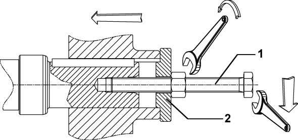 parts. Instead, proceed as illustrated in the diagram below: Bolt (1) and spacer (2) are not