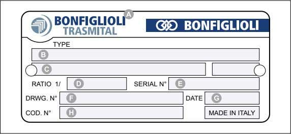 the motor is supplied in the motor manual. Nameplate data Manufacturer Product identification Bonfiglioli Trasmital