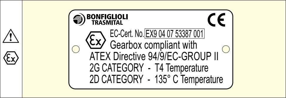 code Supplementary nameplate on ATEX-specified gear units Readability of the nameplate The nameplate and the