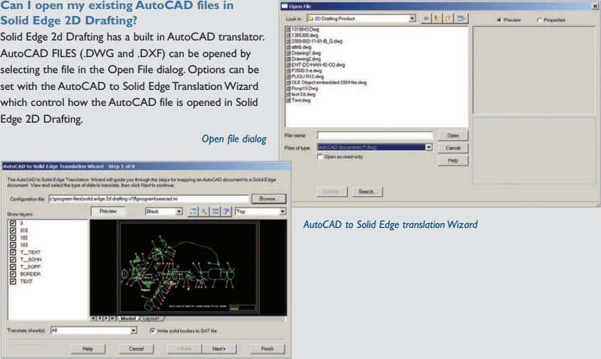 Can I open my existing AutoCAD files in Solid Edge 2D Drafting? Solid Edge 2d