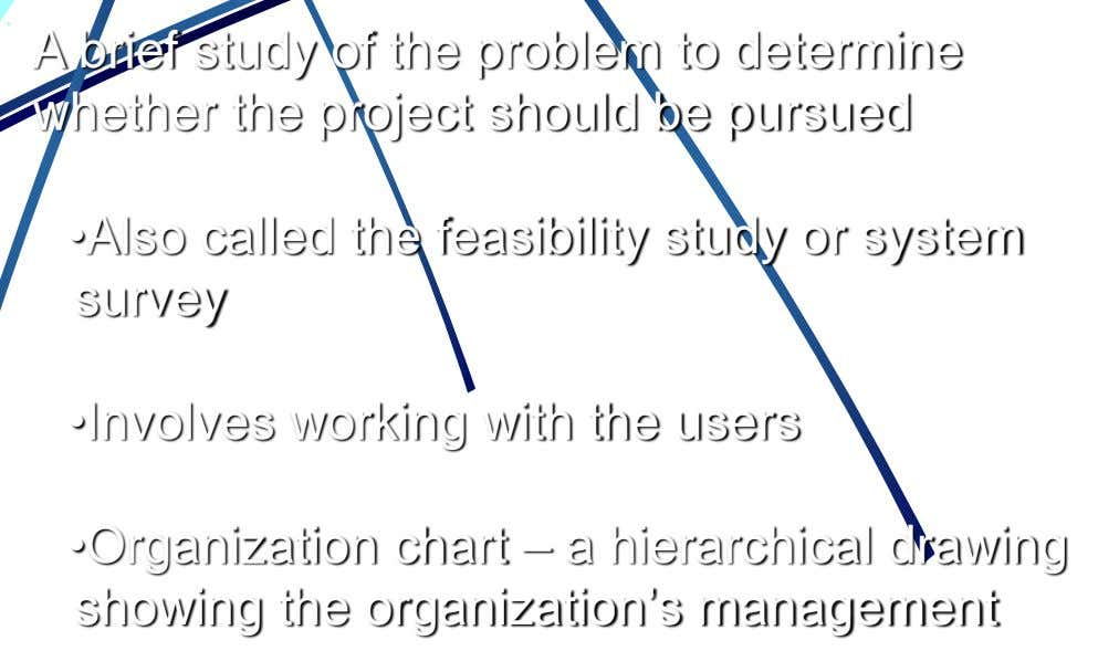 A brief study of the problem to determine •Also called the feasibility study or system survey