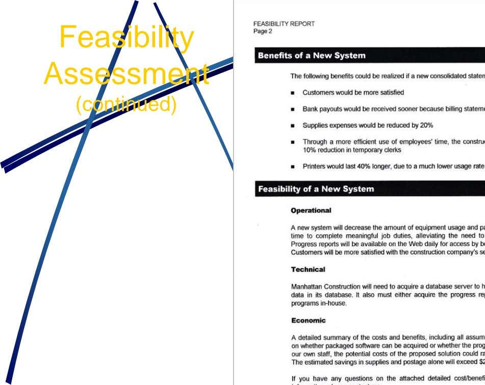 Feasibility Assessment (continued)