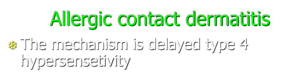 Allergic contact dermatitis  The mechanism is delayed type 4 hypersensetivity