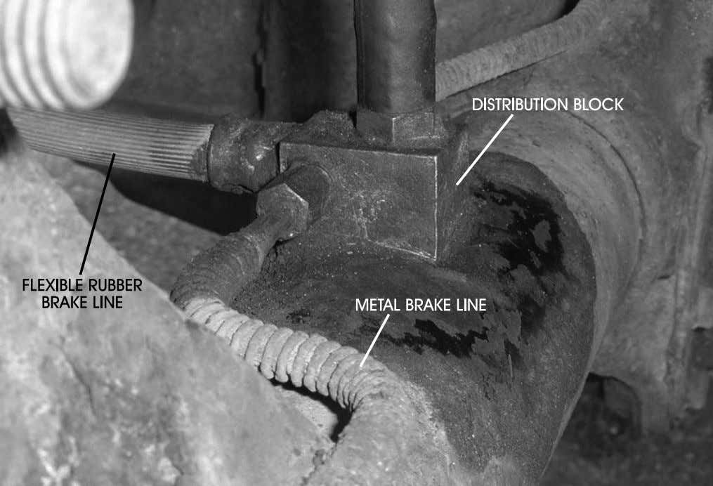 Automotive Braking Systems 99 FIGURE 71—Shown is a rear rubber brake line at a bracket and