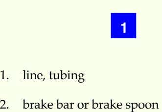 1 1. line, tubing 2. brake bar or brake spoon