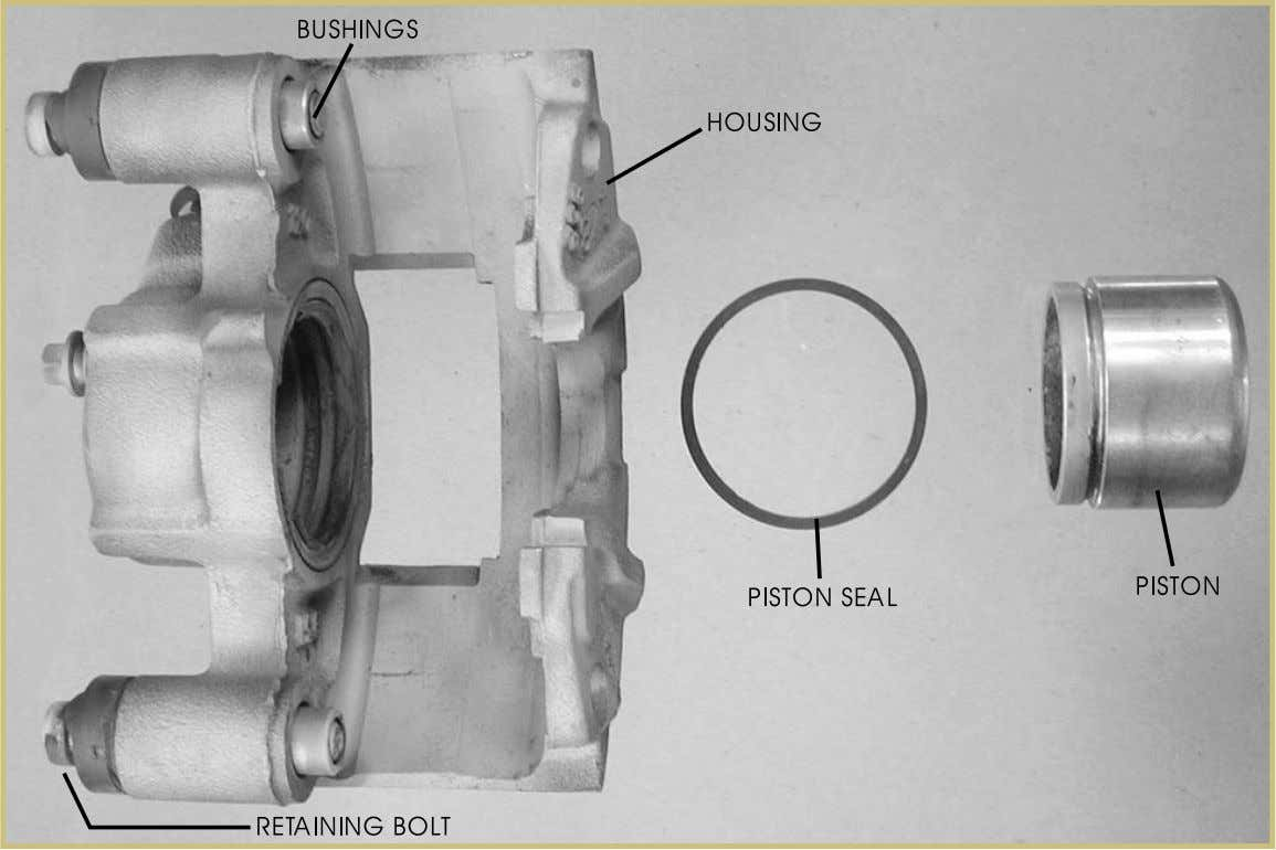 Automotive Braking Systems 55 FIGURE 37—A caliper actually contains few components. There are the piston, the