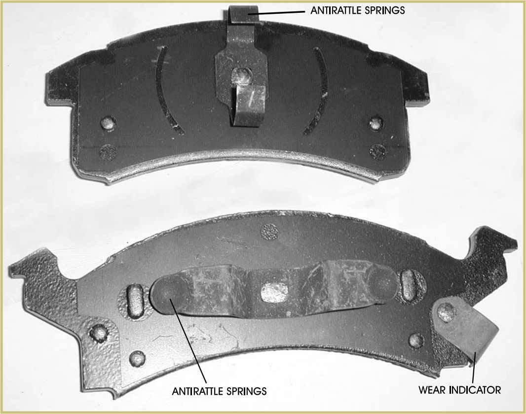 Automotive Braking Systems 63 FIGURE 43—This photograph of the back of the brake shoes shows the